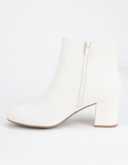 DELICIOUS Clean Ankle Stacked White Bottes pour femmes - BLANC.