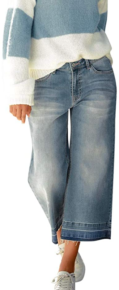 RTYou Jeans à jambe large pour femme grande taille Crop femme grande taille.