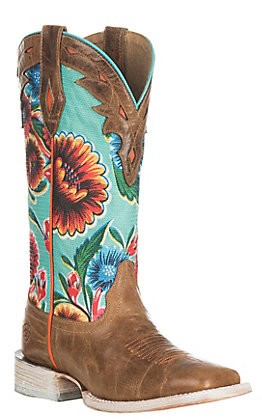 Ariat Women's Circuit Champion Dusty Brown and Turquoise Floral.