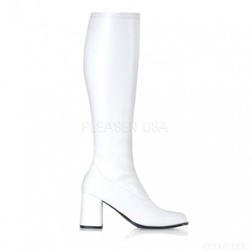 White Stretch Block Heel GoGo Boots Boots Catalogue: hiver femme.