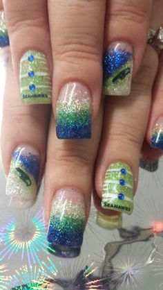 10+ Best Seattle Seahawks Nail Designs images |  clous de Seahawks.