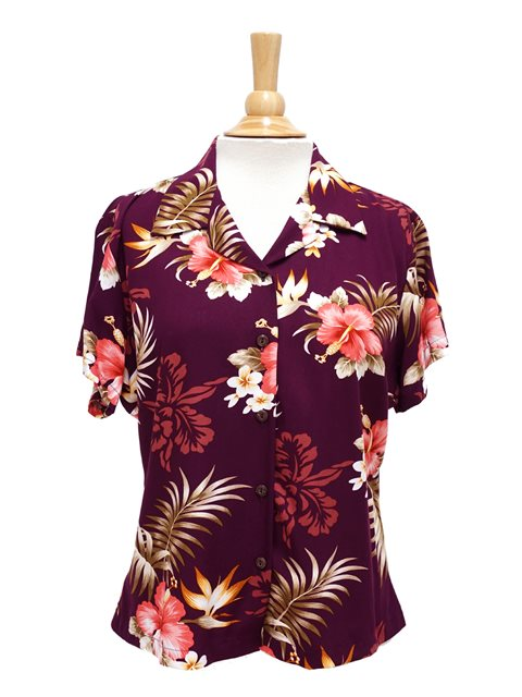 Chemise hawaïenne pour femmes Two Palms Fern Hibiscus Purple Rayon.