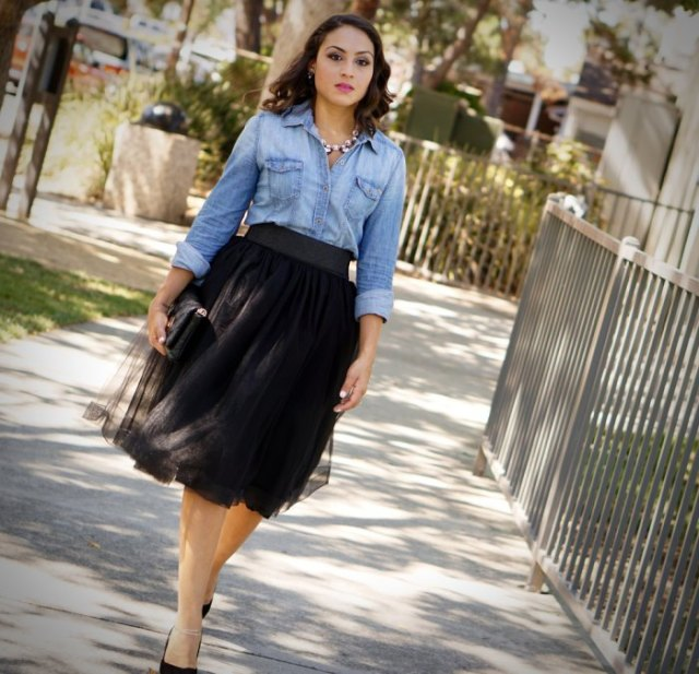 Chemise chambray talons noirs