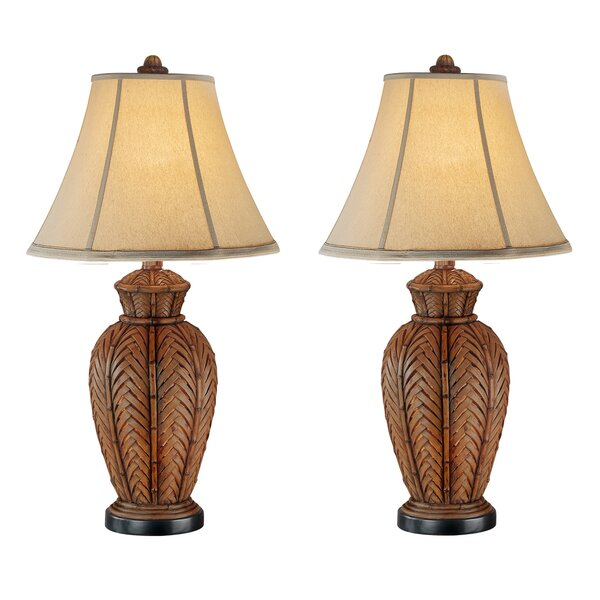"""Highland Dunes Andromeda Wicker 24 """"Table Lamp Set & Commentaires 