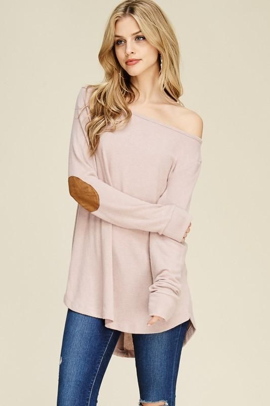 Chemise patch coudes rose