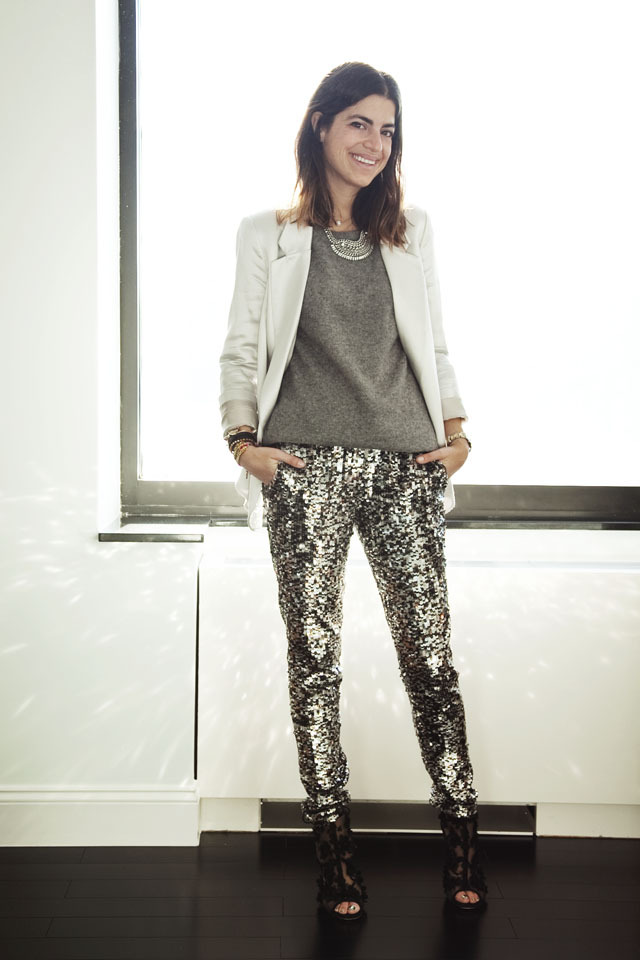 Pull leggings à sequins gris