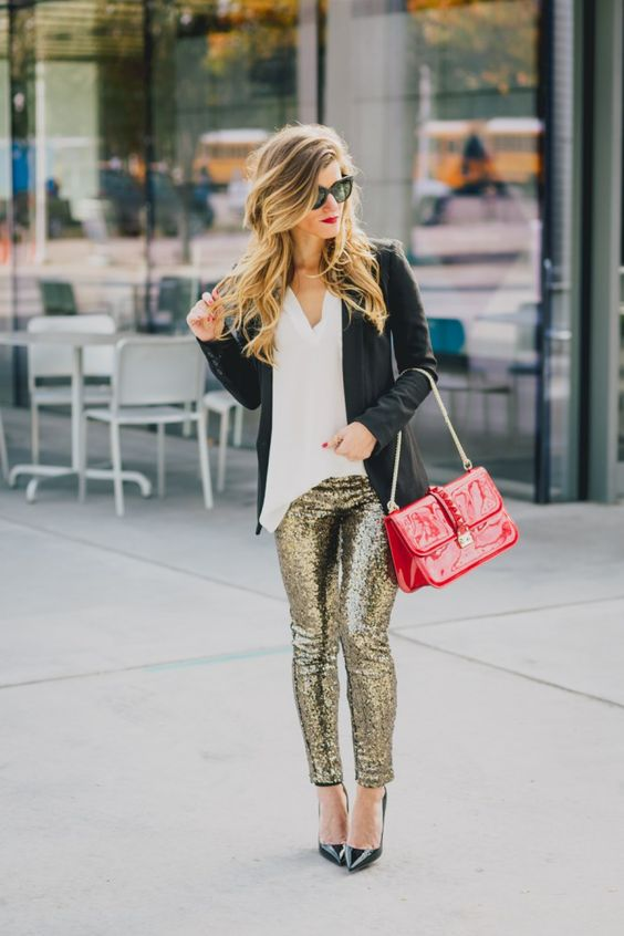 Sac legging paillettes rouge