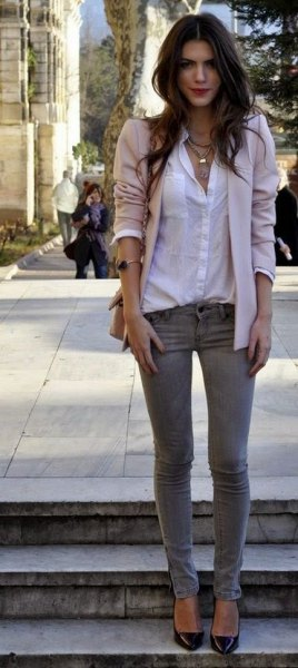 chemise blanche à boutons jean skinny gris