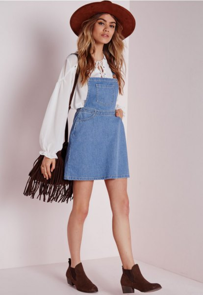 robe en denim chemisier boho blanc