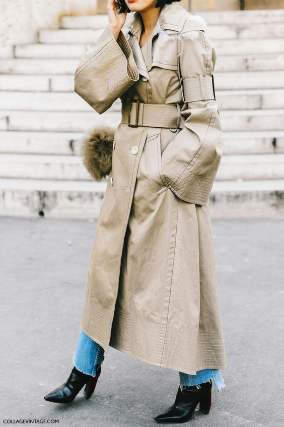 Trench-coat à manches longues cloche oversize