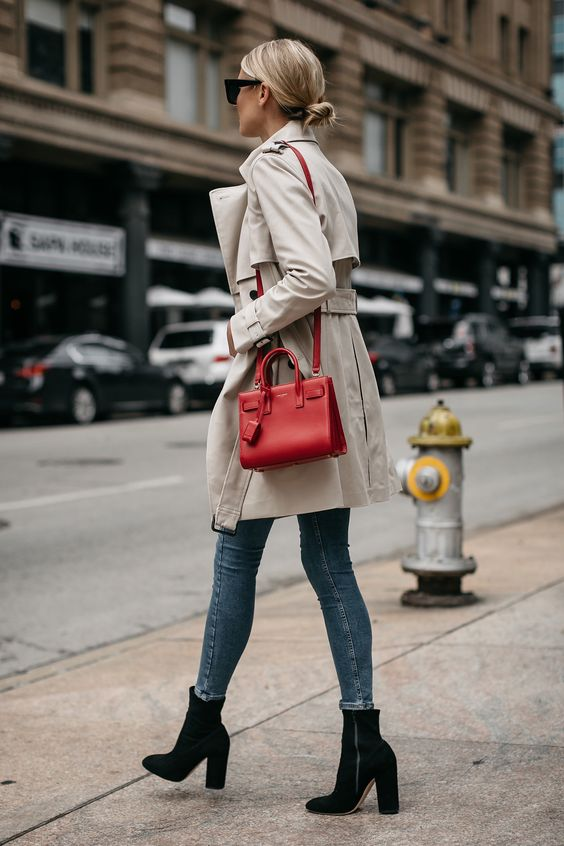 Trench-coat sac rouge
