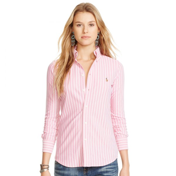 chemise oxford rayée rose et blanche