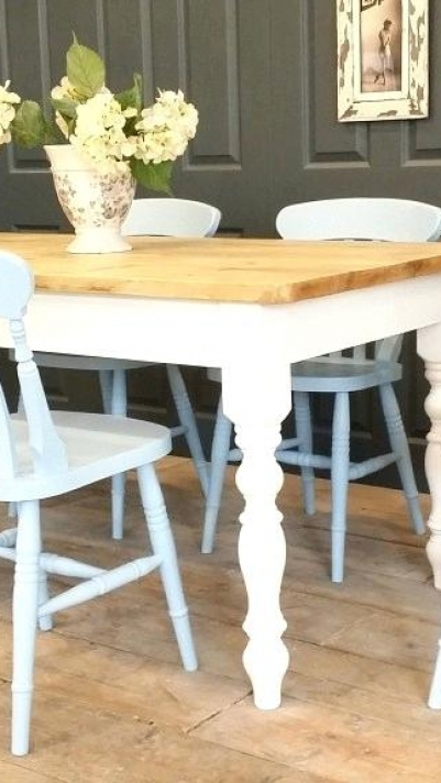 Gris Shabby Chic Kitchens Kitchen Set Table Tables de salle à manger de luxe.