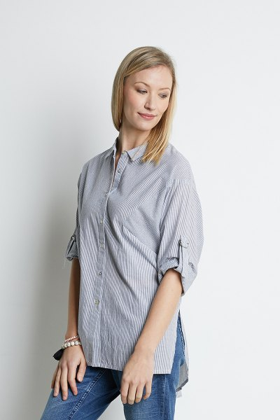 jean chemise oversize à rayures bleues