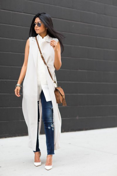 robe chemise longue blanche sans manches jean skinny