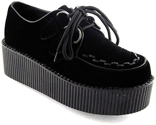 New Womens Platform LACE UP Double Creepers Goth Punk Shoes, noir.
