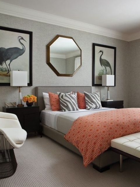 30-Cool-Grey-And-Coral-Home-Decor-Ideas-With-Grey-and-Orange-Bed.