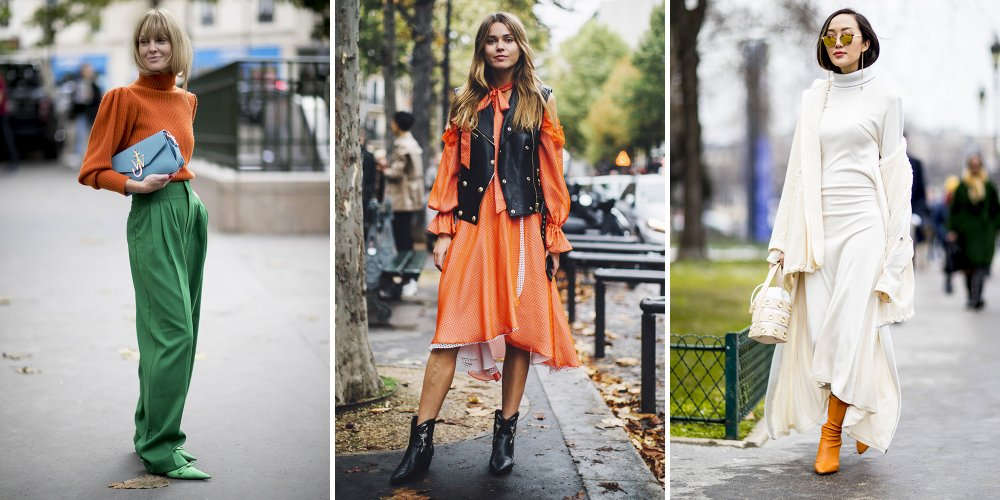 Comment porter une robe orange et bleue